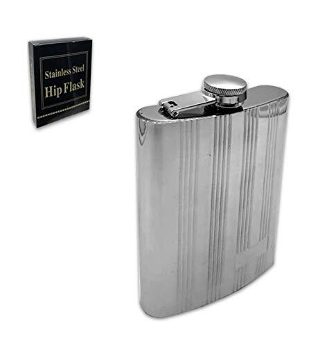 Ducomi Hip Fiaschetta Acciaio Inox Tascabile Vintage - Liquore Vino Bevande - Resistente, Durevole e Antiruggine, Pratica e Facile da Pulire - Regalo per Uomini e Donne (Rigata, 230 ml)