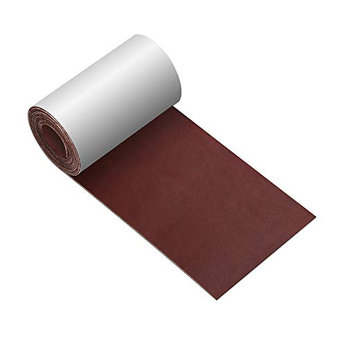 Leather Repair Tape 3X60 inch Patch Leather Adhesive for Sofas, Car Seats, Handbags, Jackets,First Aid Patch (Smooth Weave Red Brown)