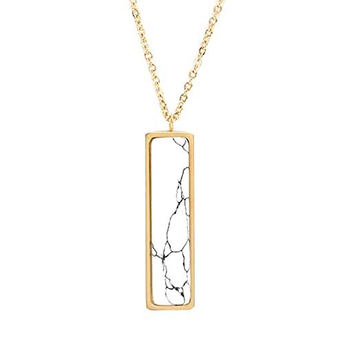 Collar simple de barra vertical blanca Diseño exclusivo de mármol Exquisito accesorio imprescindible de moda minimalista