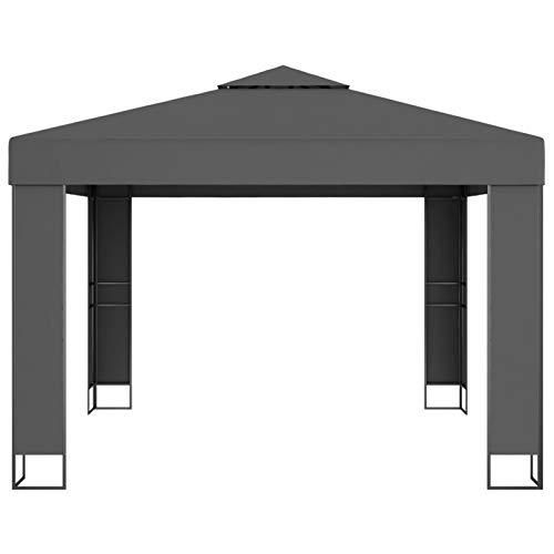 Lasamot Pabellón de Estructura de Marco de Acero de Estilo Moderno, pabellón de jardín, pabellón de reunión Familiar al Aire Libre 3 x 3 m-Antracita con Revestimiento de PA