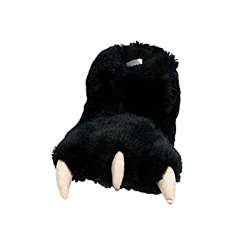 Lazy One Animal Paw Slippers for Kids and Adults Fun Costume for Kids Cozy Furry Slippers Bear Monster Panther  Black X-Large