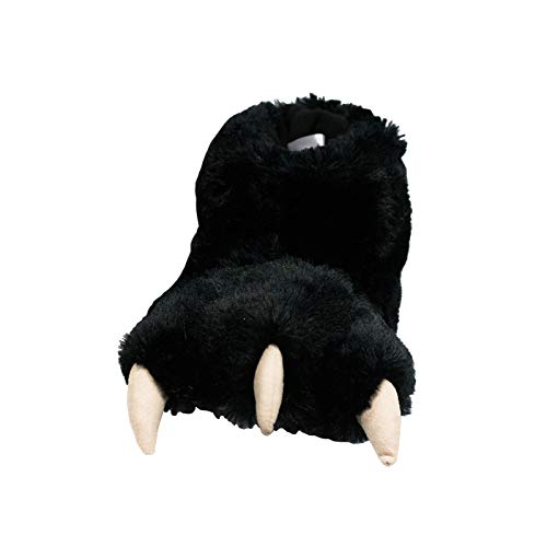 Lazy One Animal Paw Slippers for Kids and Adults, Fun Costume for Kids, Cozy Furry Slippers, Bear, Monster, Panther (Black, Medium)
