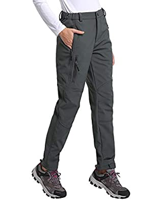 BALEAF Women's Hiking Fleece-Lined Ski Pants Windproof Water-Resistant Outdoor Insulated Soft Shell Grey L
