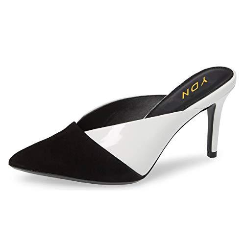YDN Women Pointed Toe Mid Heel Clogs Mules Slip on Sandals Slide Dress Shoes Black-White 11