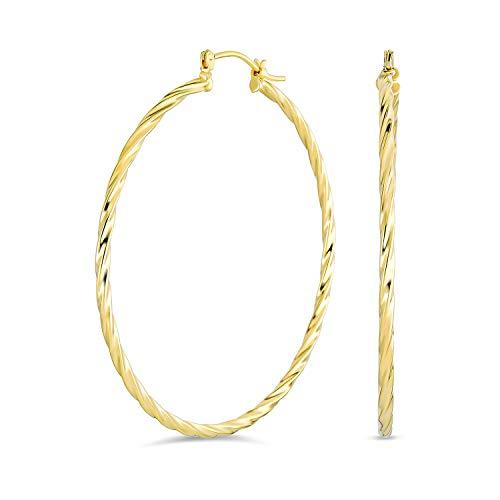 Corda Intrecciata Grande Cavo Orecchini A Cerchio Per Donne Per Teen 18K In Ottone Placcato Oro Di 2 Pollici Di Diametro
