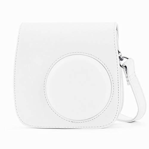 Leebotree Tasche Kompatibel mit Instax Mini 9 / Mini 8 8+ Sofortbildkamera, Schutztasche aus Weichem Kunstleder mit Schulterriemen und Tasche (Weiß)