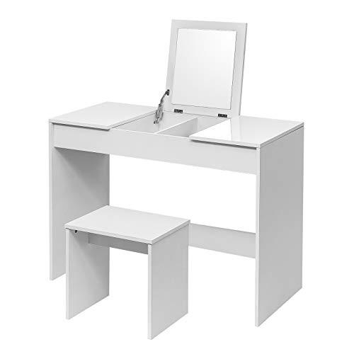 WOLTU Schminktisch Kosmetiktisch mit Hocker und klappbar Spiegel, Hochglanz Tischplatte,Schreibtisch Frisierkommode, 100 * 45 * 76cm, MB6047ws, Weiß