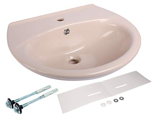 Calmwaters® - Waschbecken in Beige-Bahamabeige in 55 cm als Komplett-Set mit Schallschutz und Befestigung - 99000206