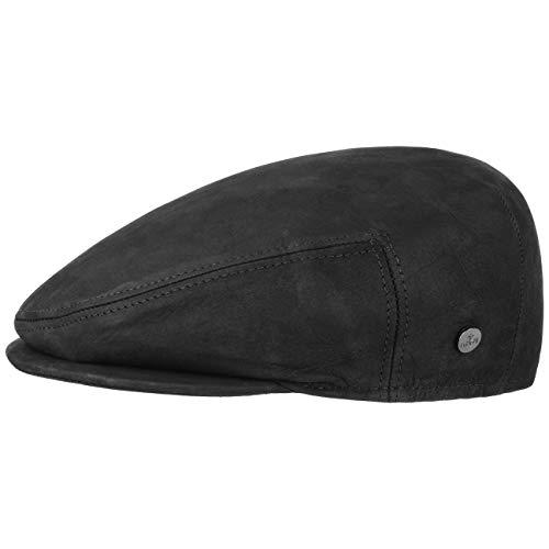 Lierys Leder Flatcap Lederflatcap Herrencap Cap Schirmmütze Schiebermütze für Herren Ledercap Schirmmütze mit Schirm, mit Futter Winter Sommer (60 cm - schwarz)