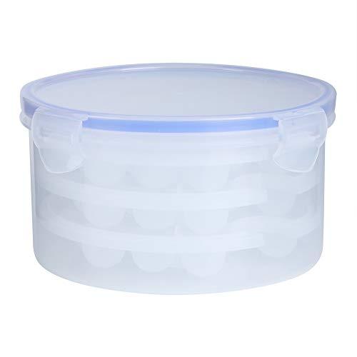 Oumefar Moule à Boule de Glace Plateaux à Glace Ronds en Silicone Flexible avec Couvercle adaptés aux moules de boîte de Fabrication de Grille de Glace de congélateur(1.1L + 3 Layer 51 Grids)