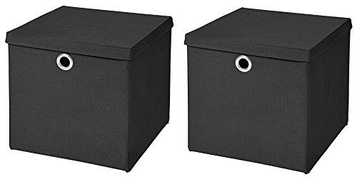 CM3 2 Stück Schwarz Faltbox 32 x 32 x 32 cm Aufbewahrungsbox faltbar mit Deckel