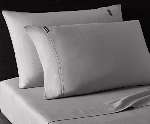 Vera Wang   Repose Wellness Collection   4-Piece 100% Cotton Sheet Set Bedding, Cool, Crisp, and Lightweight, Machine Washable for Easy Care, Queen, Smoke Grey