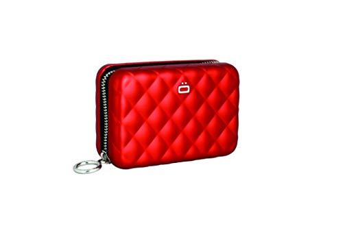 Ögon Smart Wallets - Quilted Zipper Cartera Tarjetero - Protección RFID: Protege Tus Tarjetas de Robar - hasta 24 Tarjetas + Recetas + Notas + Monedas - Aluminio anodizado (Rojo)