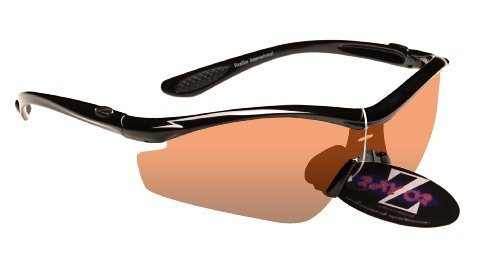 Ray-Zor Rayzor professionnel léger UV400 Noir Sport Wrap Ski Lunettes de soleil, avec un 1 Piece Lumière Améliorer ambre clair anti-reflet lentille.