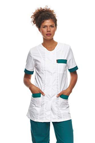 Mazalat Kasack - Chaqueta sanitaria de manga corta para mujer, fabricada en la UE, ropa de trabajo médico, ropa de cuidado de personas mayores, uniforme médico Blanco Verde Oscuro S
