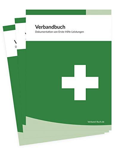 3er SET - Verbandbuch/Unfallbuch Stand 2021 - DIN A5 + doppelte Seitenanzahl GRÜN - DSGVO konform - für Gewerbe, Arbeit und Erste-Hilfe-Maßnahmen