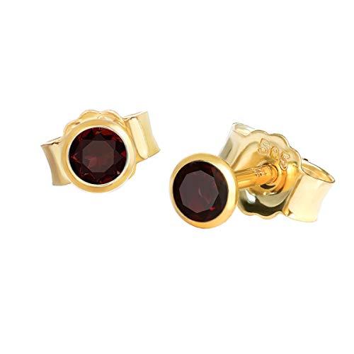 NKlaus par de pendientes genuino granate rojo oro amarillo 585 oro de 14 quilates 4,0mm pendiente pequeño 7940