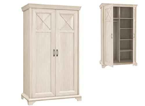 Furniture24 Kleiderschrank Kashmir KSMS82, 2 Türiger Drehtürenschrank, Schrank mit 5 Einlegeboden und 1 Kleiderstange, Wohnzimmerschrank (Pinie Weiß)