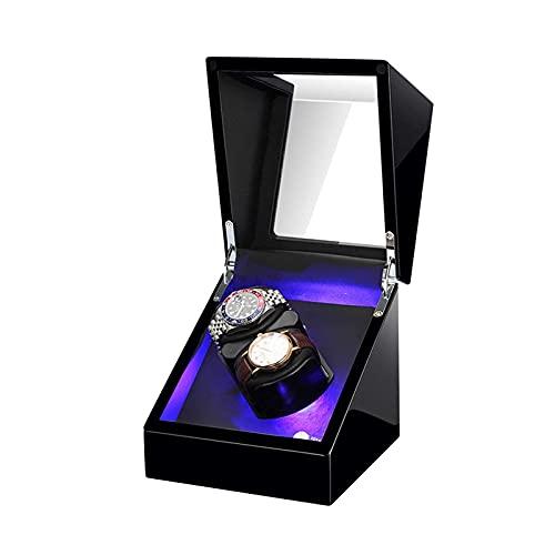 Joyero para Mujer Enrollador automático de Relojes Caja enrolladora de Relojes Dobles con luz LED Almohada Flexible para Reloj Adaptador de CA y batería de Alta Gama/Negro + Negro