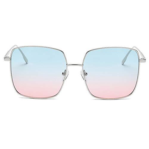 REALIKE Unisex Sonnenbrille Mode Neon Farben klare Linse Gläser Metall Brillengestell High-Mode Quadrat Rahmen Brille Sunglasses Übergroße Travel Eyewear (Farbe : A-G)