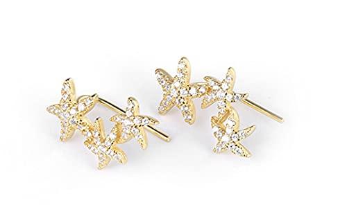 Pendientes de plata de ley 925 con diseño de estrella de mar y diamantes de imitación de estrella de mar