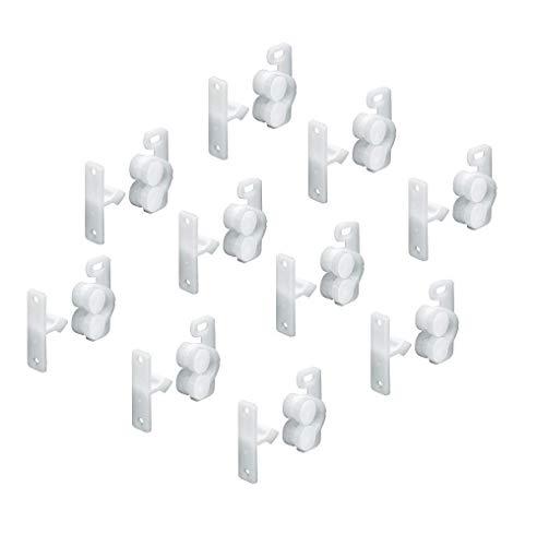 Gedotec Türschnapper Schrank mit Gegenstück Rollenschnäpper zum Schrauben | Möbel-Schnäpper verstellbar mit Langloch | Kunststoff weiß | MADE IN GERMANY | 10 Stück - Schrank-Schnäpper für Möbeltüren