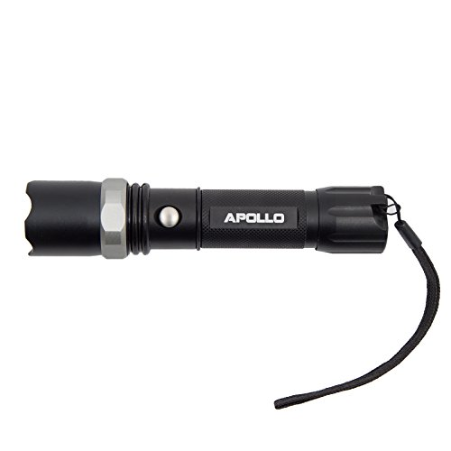 Apollo Taschenlampe Torch Police 500 Cree LED, über 500 Lumen, Länge: 15,9cm, Farbe: schwarz, inkl. Akku, Ladekabel, Autoladekabel