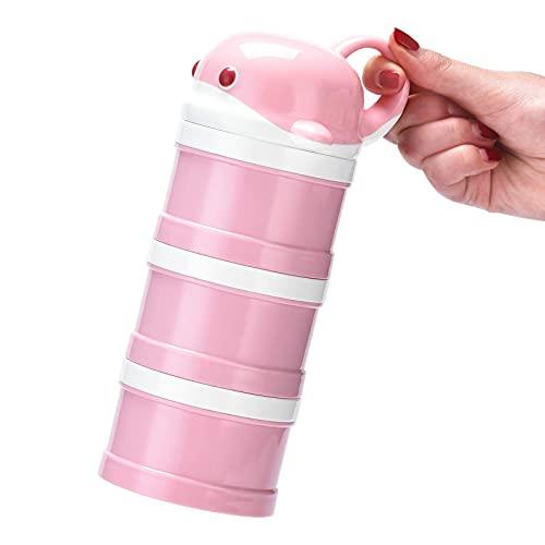 La Caja de Leche en Polvo se Puede en Capas independientemente, dispensador de Almacenamiento de Polvo de Leche de fórmula Rosa para Viajes apilables portátiles de 3 Compartimentos sin derrames