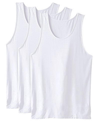 DAVID ARCHY Men's Bamboo Rayon Undershirts Crew Neck Tank Tops 3 Pack (M, White)