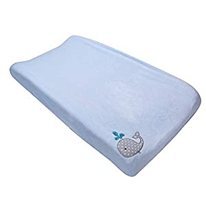 Coral Velvet Nursery Diaper Changing Table Cover Baby Girl Baby Boy Diaper Changing Pad Cover 1PC (Light Blue Whale)