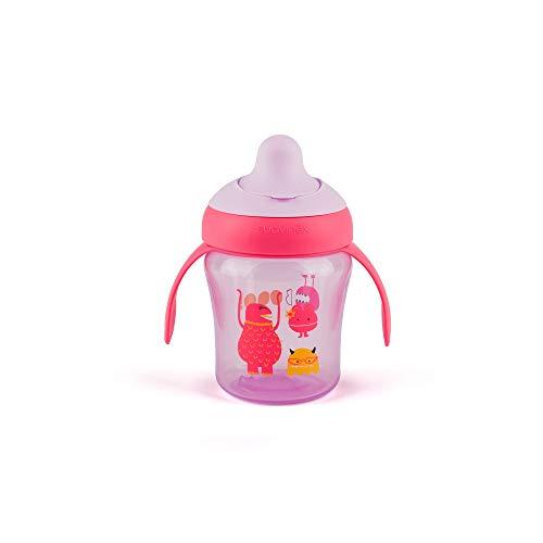 Suavinex - Vaso Aprendizaje Bebé BOOO. Con Boquilla Rígida y Asas Removibles. Para Bebés +6 Meses. Apto Para Lavavajillas. 200ml, Color Lila