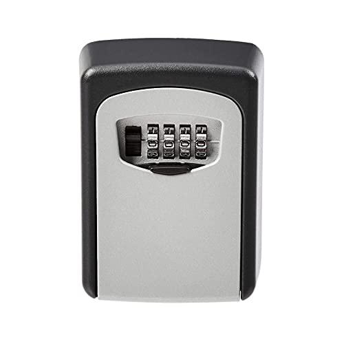 Caja de almacenamiento para llaves montada en la pared, cerradura de combinación, color gris (negro)