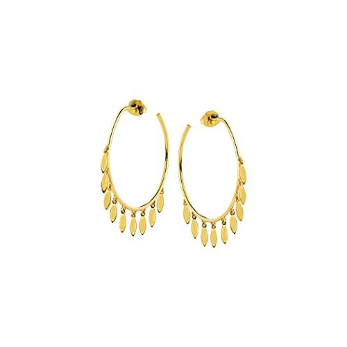 Pendientes de aro abiertos de oro amarillo de 14 quilates de 30 mm para mujer