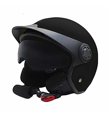 Rialb - Casco Jet MPH con doble visera - Negro mate para moto y scooter (XL, negro)