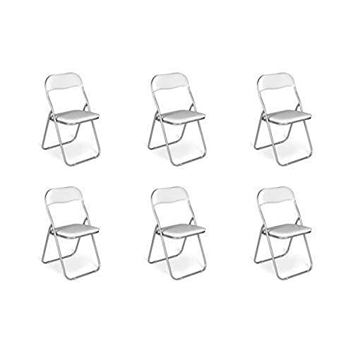 Esidra Pieghevoli Imbottite, Set di 6 Salvaspazio, Sedie Metallo e PVC, Poltroncine Richiudibili (Bianco), UNICA