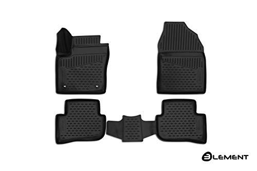 Element Tappetini in gomma antiscivolo premium 3D personalizzati TOYOTA C-HR, 2016->, 4WD, SUV, 4 pez., Nera