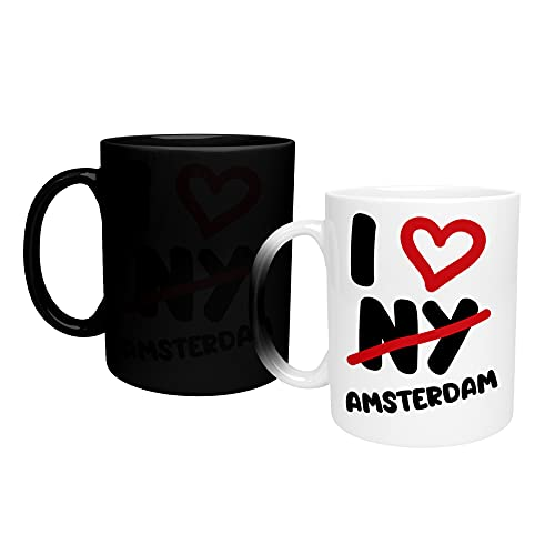 Color Changing Mug I Love Amsterdam Proud_TA195 Magic Heat Changing Coffee Mug - Funny Cup, for Office and Home Use Taza que cambia de color 325ml