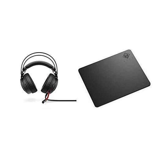 HP Omen 800 - Auriculares para Gaming con micrófono (PC/Juegos, binaurale, Diadema, alámbrico, circumaural), Color Negro y Rojo + OMEN 100 - Alfombrilla para ratón (Negra, 360 mm x 300 mm x 4 mm)
