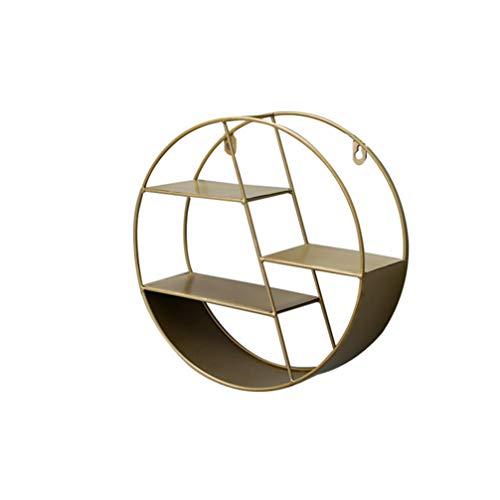 VOSAREA Estantería de pared de diseño redondo, de estilo vintage, de pared, soporte de metal con estante de madera de pared (dorado)