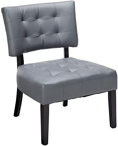 Best Roundhill Furniture Blended Leather Tufted Accent Chair with Oversized Seating, Gray