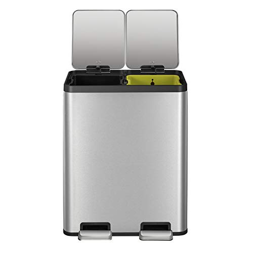 EKO EcoCasa II 30L Dual Compartment Kitchen Recycle Trash Can 30L30L Brushed Stainless Steel Finish