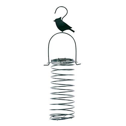 Homescapes Meisenknödel Futterspender, Vogel-Futtersäule mit Metallfeder, Meisenknödelhalter mit Zaunkönig-Silhouette, 33 cm