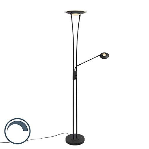 QAZQA Modern Moderne Stehlampe schwarz inkl. LED mit Lesearm - Ibiza Dimmer/Dimmbar/Innenbeleuchtung/Wohnzimmerlampe/Schlafzimmer/Deckenfluter Stahl/Glas Länglich / (nicht austauschbare) LE