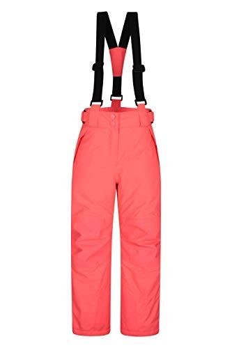Mountain Warehouse Pantalon de Ski Enfants Falcon Extreme - Coutures soudées, Imperméable, Guêtres Pare-Neige, Poches sécurisées - pour Le Ski et Les Vacances, Hiver Rose 11-12 Ans