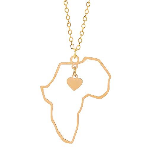 YQMR Collar Colgante Mapa Mujer,África Mapa Collar Moda Oro Exquisito Corazón Colgante Hip Hop Joyería Dama Brillo Regalo para Parejas Cumpleaños Boda