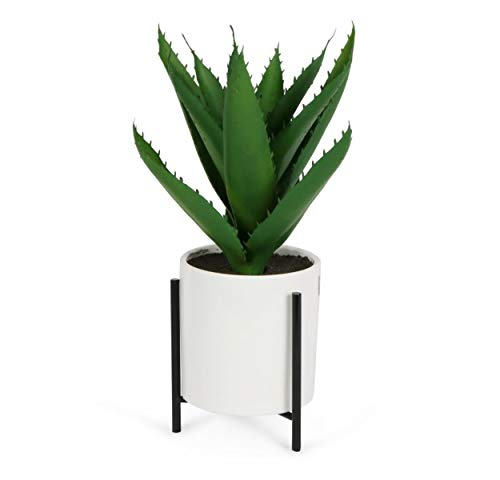 Wrenbury Artificial Aloe Vera Plant in White Plant Pot, 30cm | Reversible Stand | Luxury Artificial Plant Fake Plants | Decorative Home Decor Indoor Succulent Plant Pot