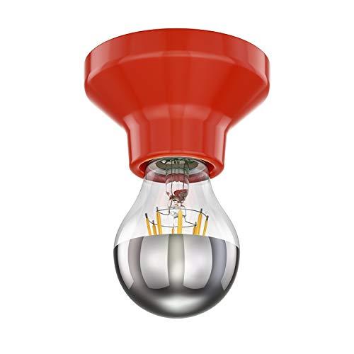 ledscom.de LED Deckenleuchte Elektra Porzellan rot inkl. E27 Kopfspiegel Lampe 710lm warm-weiß