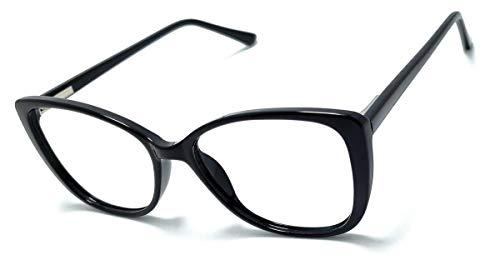 Óculos Armação Feminino Olho De Gato Yf-8024 Lentes Sem Grau (Preto)