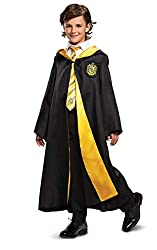 REAL HARRY POTTER DELUXE HUFFLEPUFF ROBE - This well made Halloween costume is a great way for your wizard to get into the Hogwarts spirit ABOVE AVERAGE HARRY POTTER HUFFLEPUFF CLOAK - This is a kids Hufflepuff themed costume robe with matching patch...