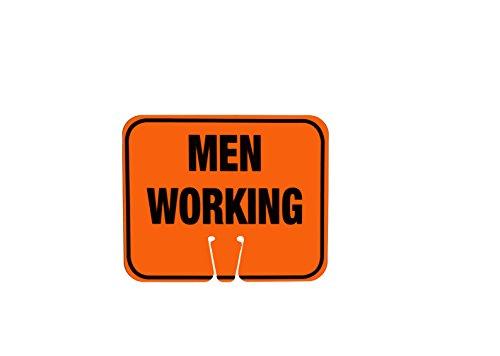 Cortina ABS Plastic Traffic Cone Sign, MEN WORKING 03-550-MW, 12.75 Width x 10.375 Height, Black On Orange